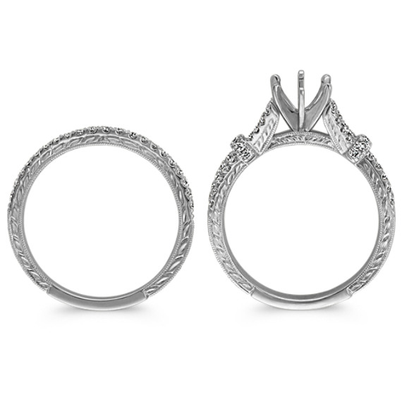 Vintage Diamond Split Shank Wedding Set with Pavé Setting