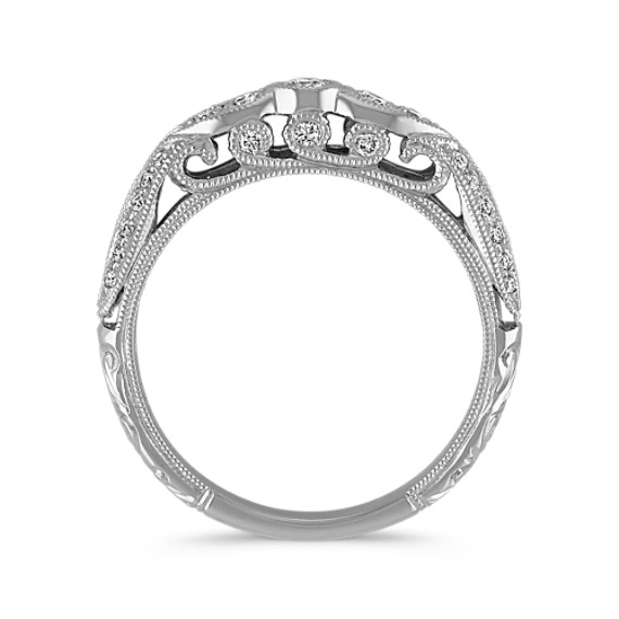 Vintage Diamond Wedding Band with Center Round and  Pavé Setting