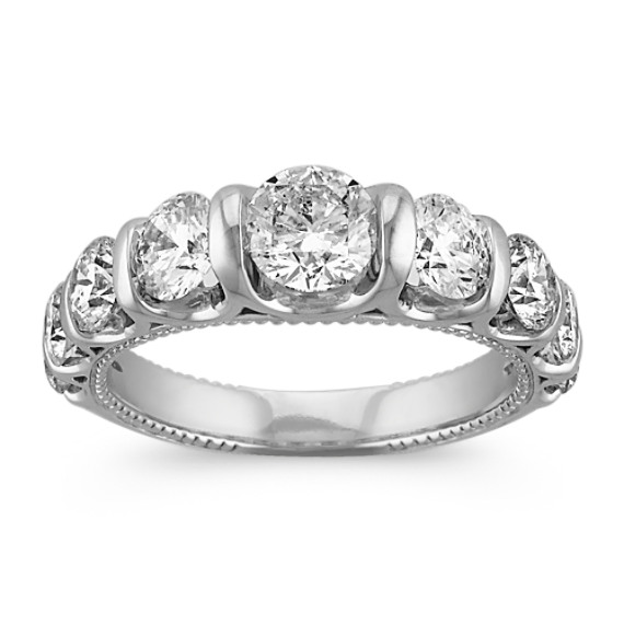 Vintage Diamond Wedding Band with Channel-Setting in 14k White Gold