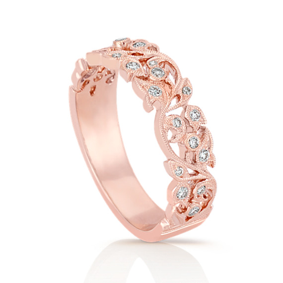 Vintage Diamond Wedding Band with Pavé Setting in Rose Gold