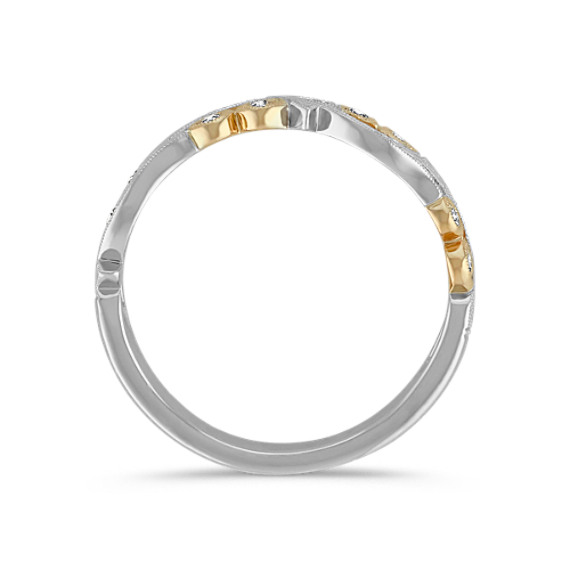Vintage Diamond Wedding Band with Pavé Setting in Two-Tone Gold