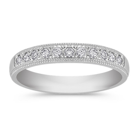 Vintage Diamond Wedding Band with Pavé Setting