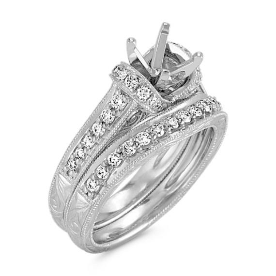 Vintage Diamond Wedding Set in Platinum