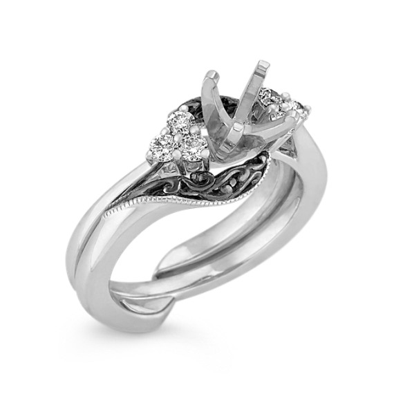 Vintage Diamond Wedding Set with Black Rhodium