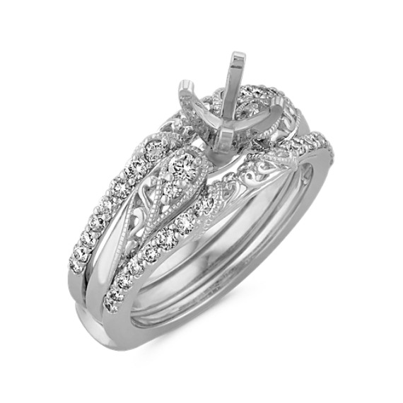 Vintage Diamond Wedding Set with Double Banded Ring Guard