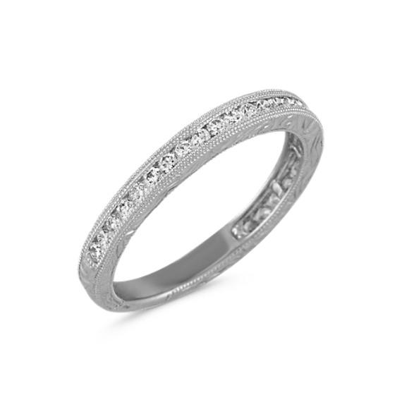 Vintage Engraved Round Diamond Wedding Band with Milgrain Detail