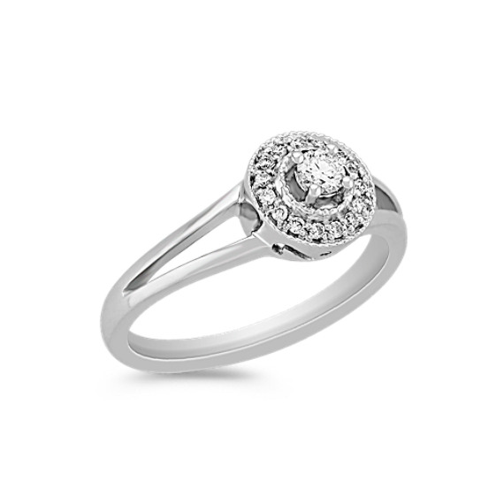 Vintage Halo Diamond Ring in Sterling Silver