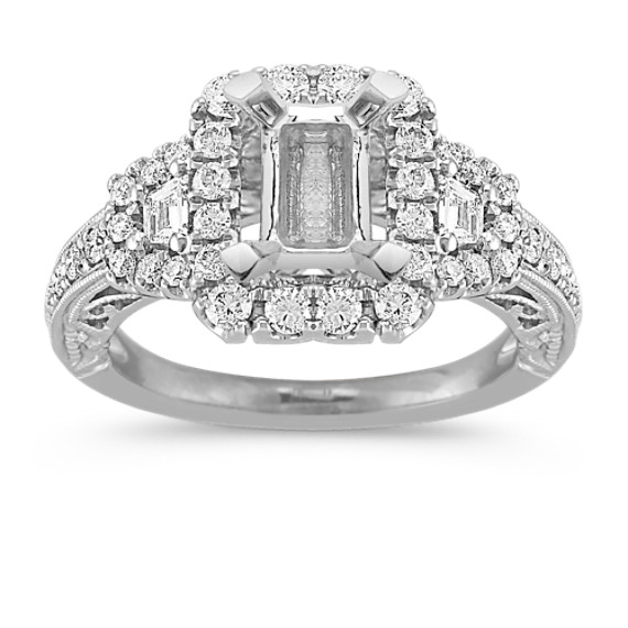 Vintage Halo Engagement Ring with Pavé-Set Baguette and Round Diamonds