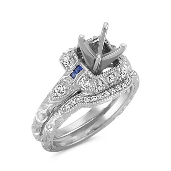 Vintage Halo Princess Cut Sapphire and Round Diamond Wedding Set