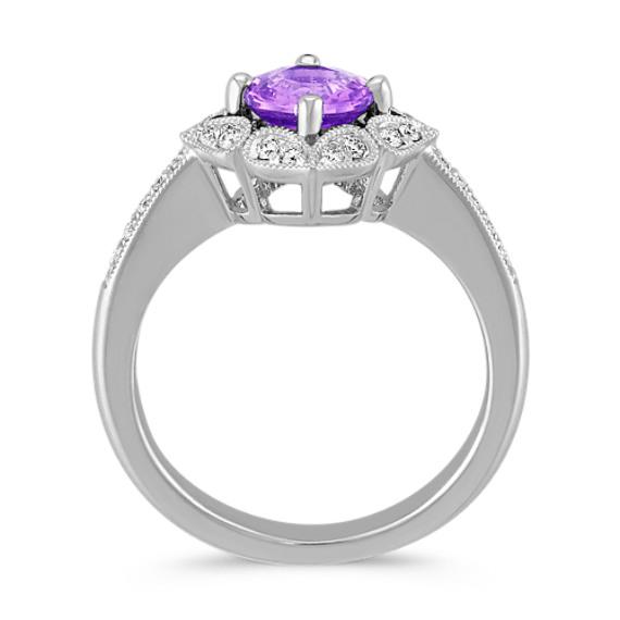 Vintage Lavender Sapphire and Diamond Ring