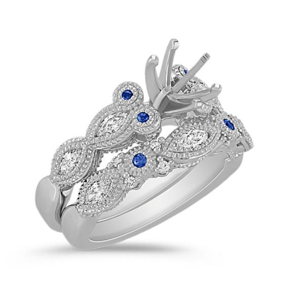 Vintage Marquise Diamond and Round Sapphire Wedding Set