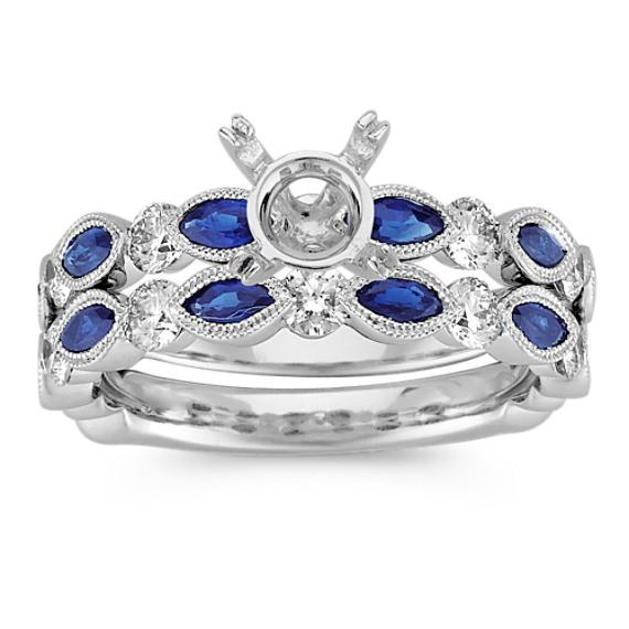 Vintage Marquise Sapphire and Round Diamond Wedding Set with Pavé Setting