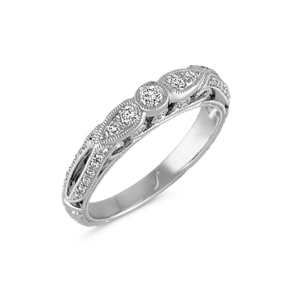 Vintage Pavé-Set Diamond Wedding Band with Center Round Diamond