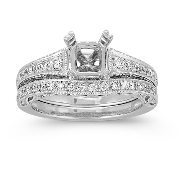 Vintage Pavé Set Round Diamond Wedding Set in Platinum