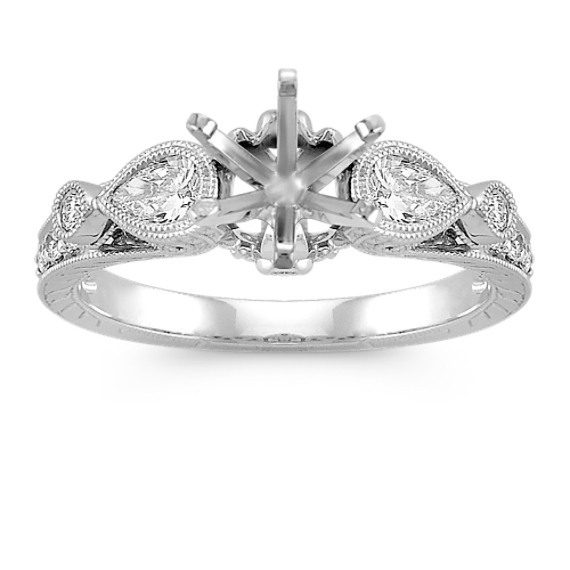 Vintage Pear-Shaped and Round Diamond Engagement Ring