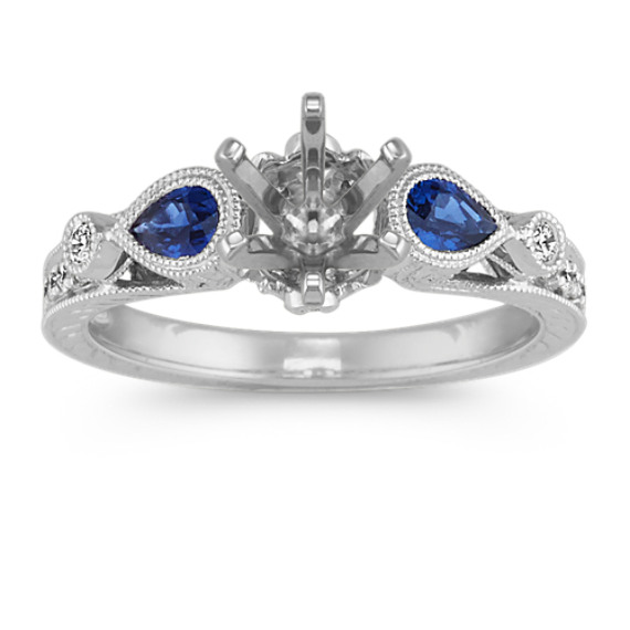 Vintage Pear Shaped Sapphire and Diamond Engagement Ring