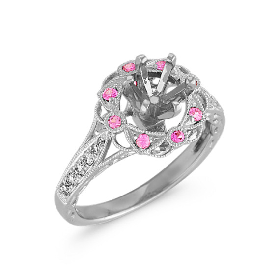 Vintage Pink Sapphire and Diamond Halo Engagement Ring with Pavé Setting