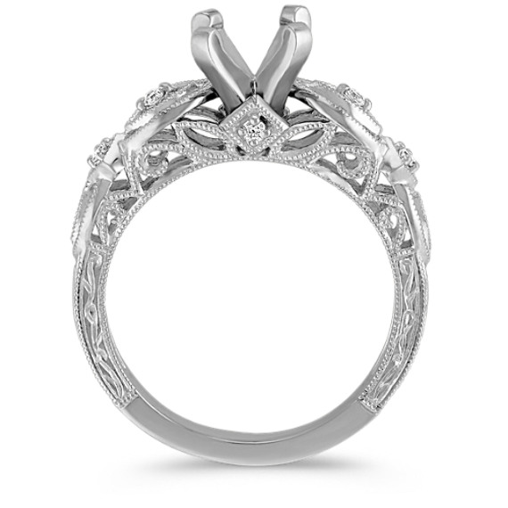Vintage Platinum Diamond Engraved Engagement Ring