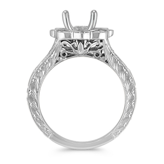 Vintage Princess Cut and Round Diamond Engagement Ring with Pavé Setting
