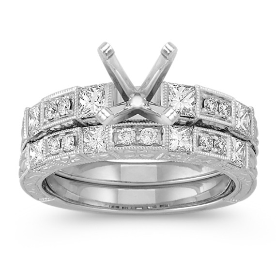 Vintage Princess Cut and Round Diamond Wedding Set