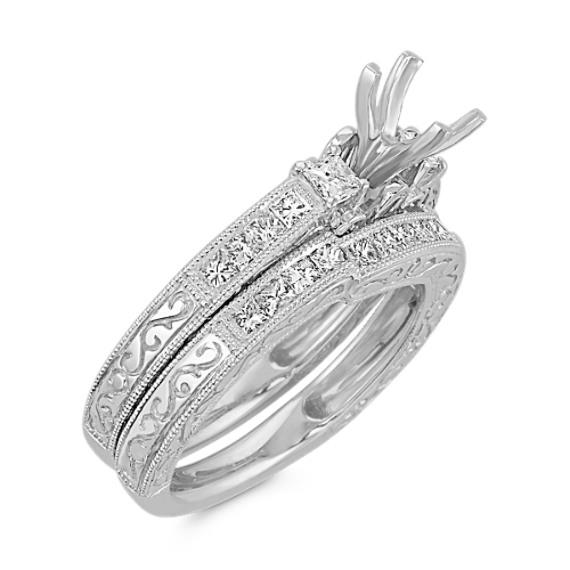 Vintage Princess Cut Diamond Platinum Wedding Set with Channel-Setting