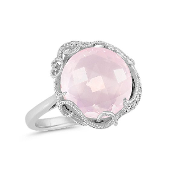 Vintage Rose Quartz And Diamond Ring In Sterling Silver At Shane Co