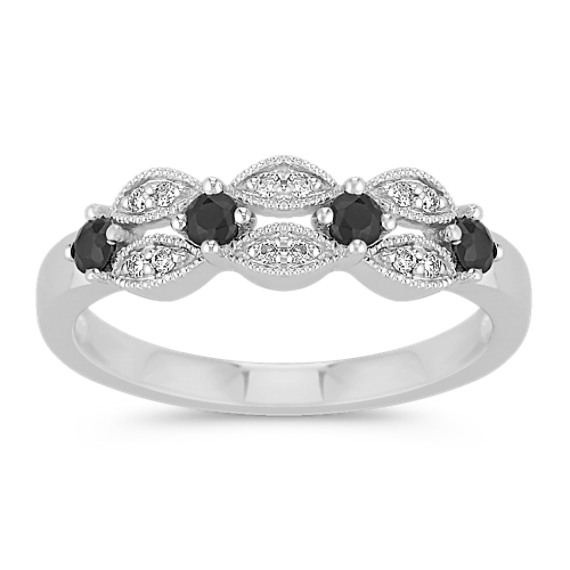 Vintage Round Black Sapphire and Diamond Ring