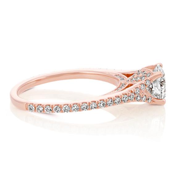 Vintage Round Diamond Engagement Ring in 14k Rose Gold