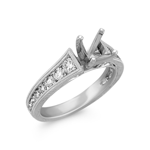Vintage Round Diamond Engagement Ring with Channel Setting