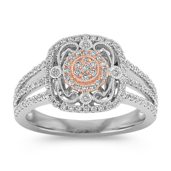 Vintage Round Diamond Fashion Ring in White and Rose Gold
