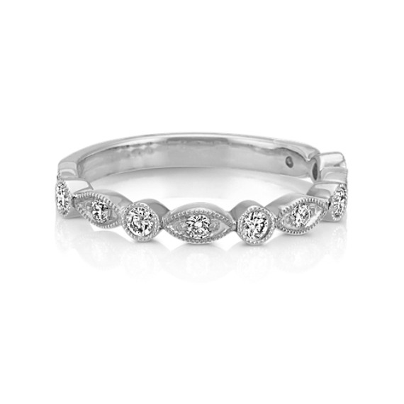 Vintage Round Diamond Wedding Band in 14k White Gold