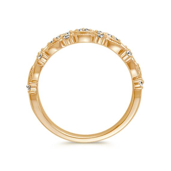Vintage Round Diamond Wedding Band in 14k Yellow Gold