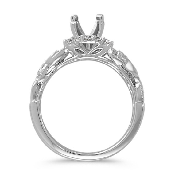 Vintage Round Diamond Wedding Set with Milgrain Detailing