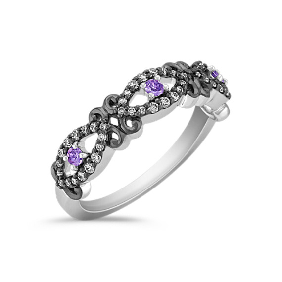 Vintage Round Lavender Sapphire and Diamond Ring with Black Ruthenium