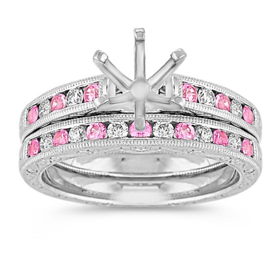 Vintage Round Pink Sapphire and Diamond Wedding Set