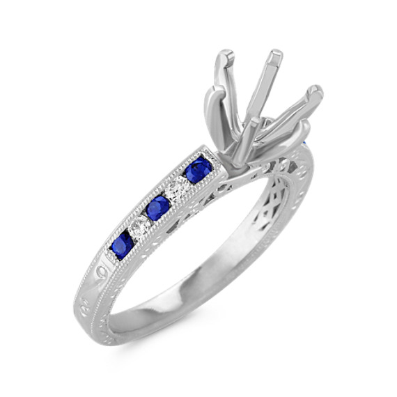 Vintage Round Sapphire and Diamond Platinum Engagement Ring with Channel Setting