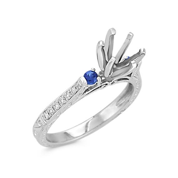 Vintage Round Sapphire and Diamond Platinum Engagement Ring
