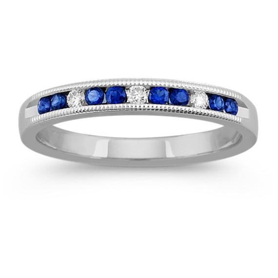 Vintage Round Sapphire and Diamond Wedding Band with Channel-Setting