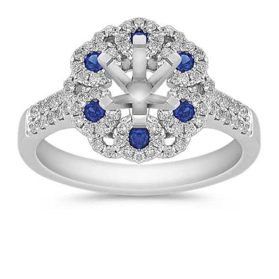 Vintage Sapphire and Diamond Engagement Ring with Pavé Setting