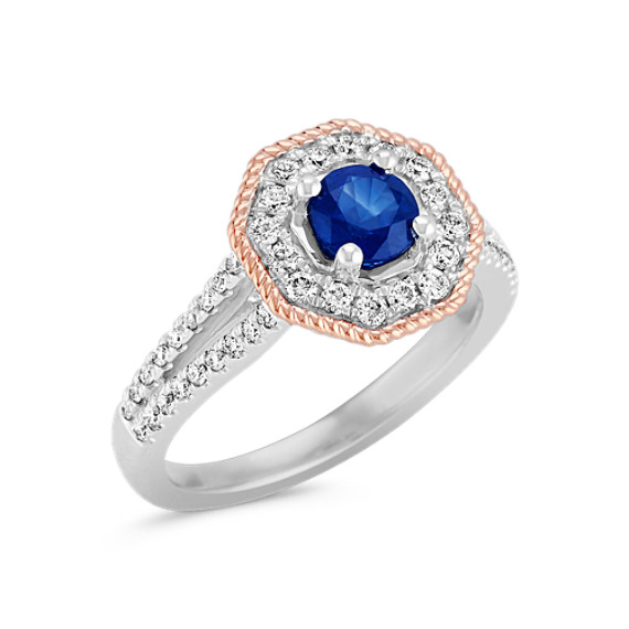 Vintage Sapphire and Diamond Ring in 14k White and Rose Gold