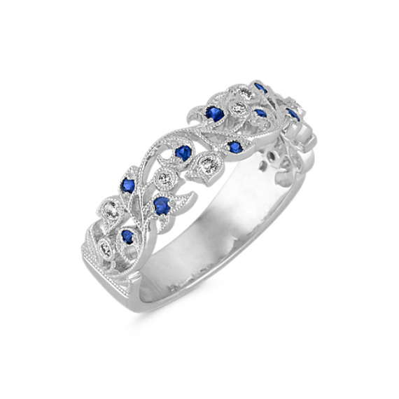 Vintage Sapphire and Diamond Wedding Band with Pavé Setting