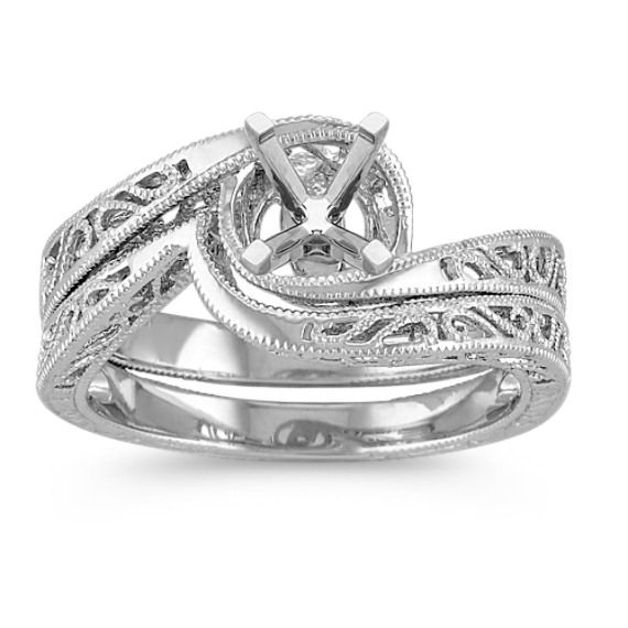 Vintage Swirl 14k White Gold Wedding Set