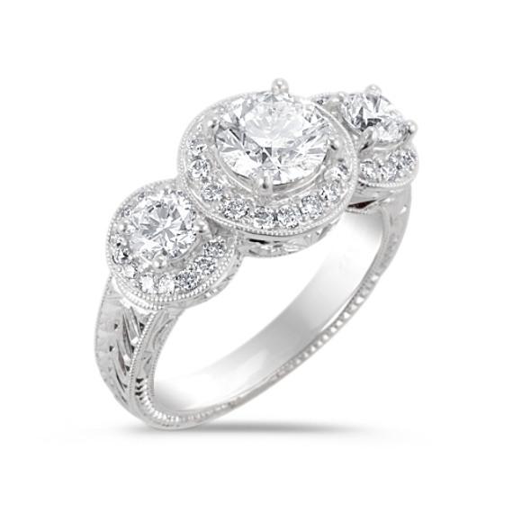 Vintage Three Stone Diamond Engagement Ring