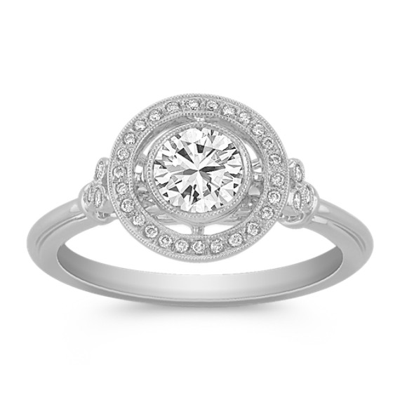 White Sapphire and Diamond Ring