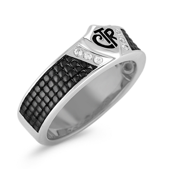 White Sapphire, Black Rhodium, and Sterling Silver CTR Ring for Him