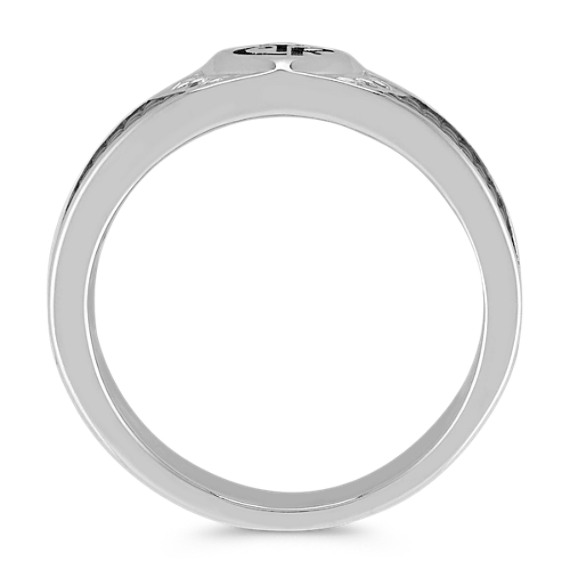 White Sapphire, Black Rhodium, and Sterling Silver CTR Ring (7mm)