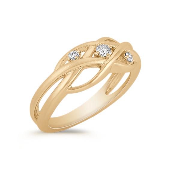 Woven Contemporary Diamond Ring
