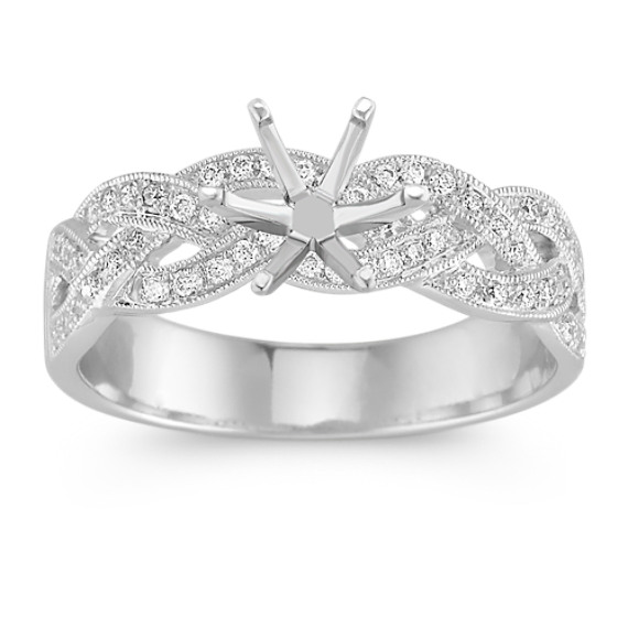 Woven Infinity Diamond Engagement Ring with Pavé Setting