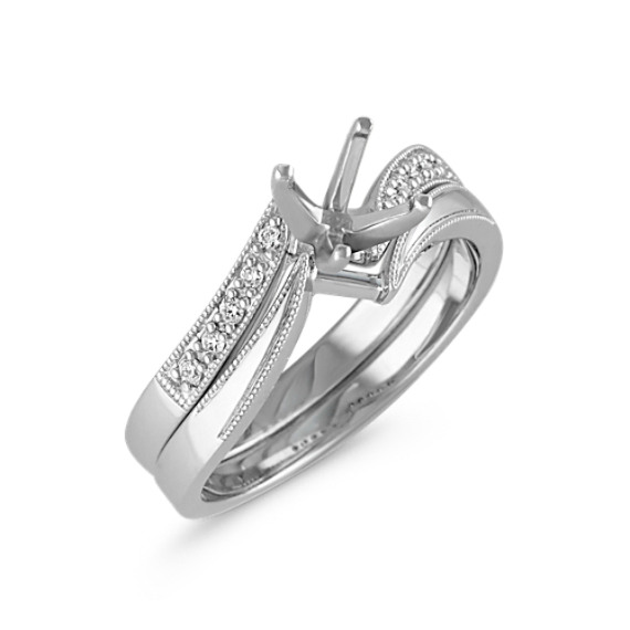 Zigzag Swirl Diamond Wedding Set with Pavé Setting