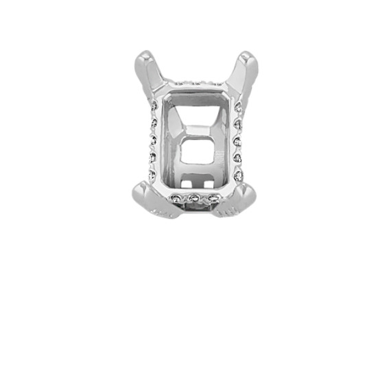 Diamond Alexa Head to Hold up to 1.25 ct. Emerald or Radiant Cut Stone